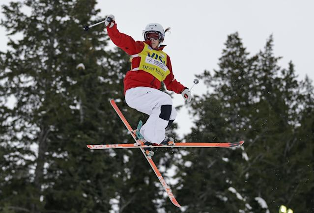 Hannah Kearney, of the United States, competes during the women's freestyle World Cup moguls event Saturday, Jan. 11, 2014, in Park City, Utah. (AP Photo/Rick Bowmer)