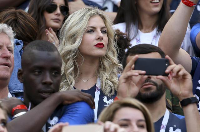 <p>Camille Tytgat, wife of Raphael Varane of France during the 2018 FIFA World Cup Russia group C match between Denmark and France at Luzhniki Stadium on June 26, 2018 in Moscow, Russia. (Photo by Jean Catuffe/Getty Images) </p>