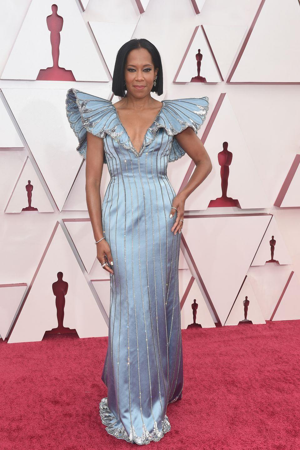 <p>Regina King in a custom jewel-encrusted Louis Vuitton gown and Forevermark jewellery.</p>