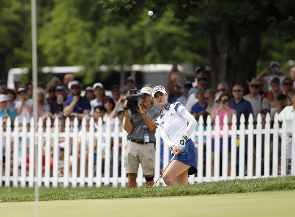 Nelly Korda hits onto the 18th green during the final round of the Meijer LPA Classic golf tournament, Sunday, June 20, 2021, in Grand Rapids, Mich. (AP Photo/Al Goldis)