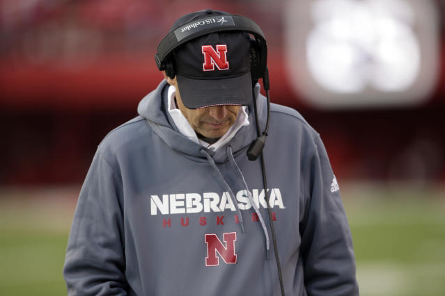 Nebraska head coach Mike Riley walks the sideline during the second half of an NCAA college football game against Northwestern in Lincoln, Neb., Saturday, Nov. 4, 2017. Northwestern won 31-24 in overtime. (AP Photo/Nati Harnik)