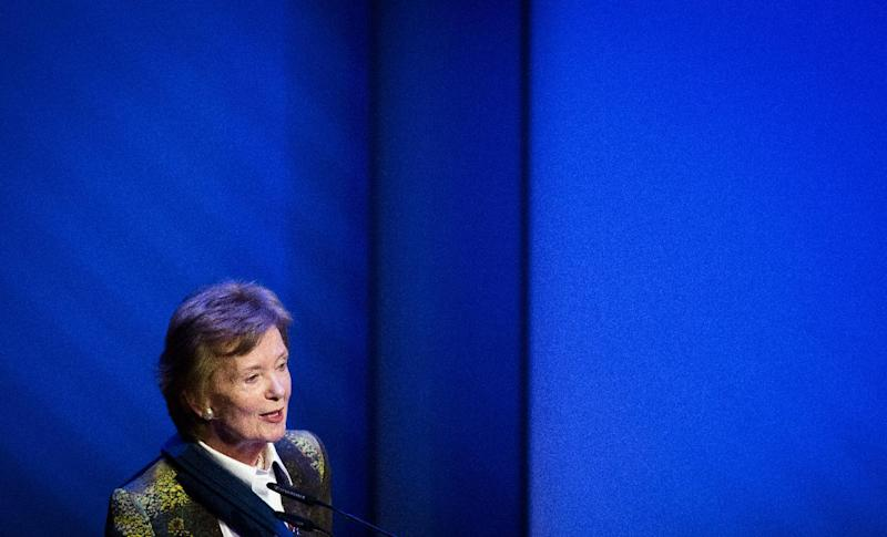 Former president of Ireland and former United Nations High Commissioner for Human Rights Mary Robinson speaks during the yearly May 5 reading in Assen on May 5, 2014