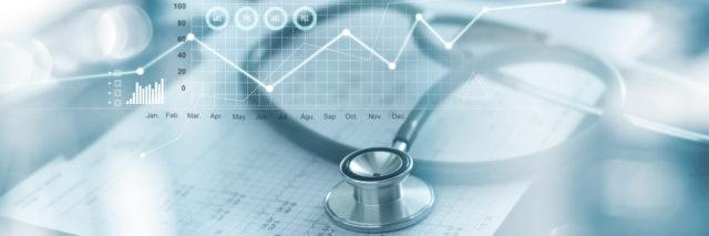 Medical examination and businessman analyzing data and growth chart on blured background