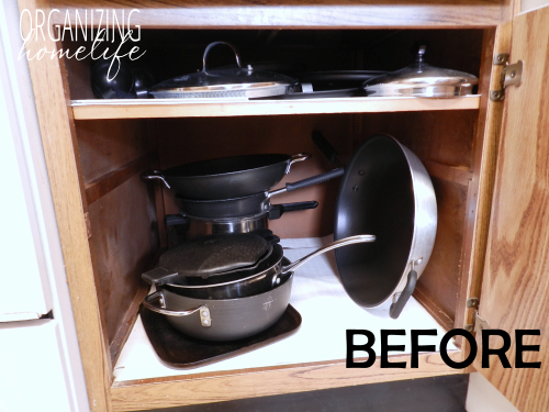 """<p>Stacking pots and pans on top of each other means when you go to grab an item in the middle of <a href=""""http://www.organizinghomelife.com/diy-knock-off-organization-for-pots-pans-how-to-organize-your-kitchen-frugally-day-26/"""" rel=""""nofollow noopener"""" target=""""_blank"""" data-ylk=""""slk:the pile"""" class=""""link rapid-noclick-resp"""">the pile</a>, the rest will surely topple.</p>"""
