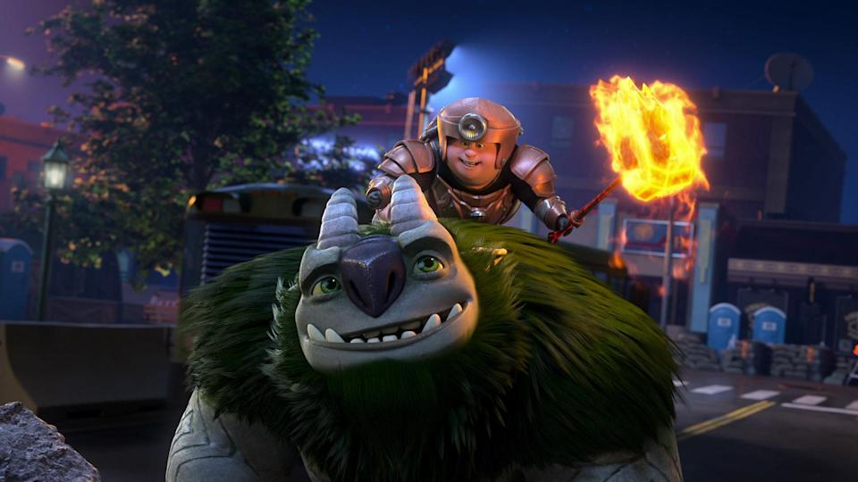 left to right is AAARRRGGHHH, an animated creature voiced by Fred Tatasciore and Toby voiced by Charlie Saxton