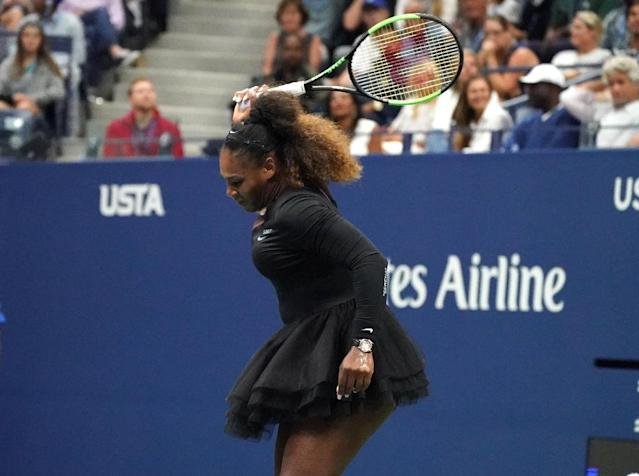 In the midst of losing Saturday's final, the 23-time Grand Slam champion smashed her racquet and called the umpire a 'thief' and a 'liar' (AFP Photo/TIMOTHY A. CLARY)