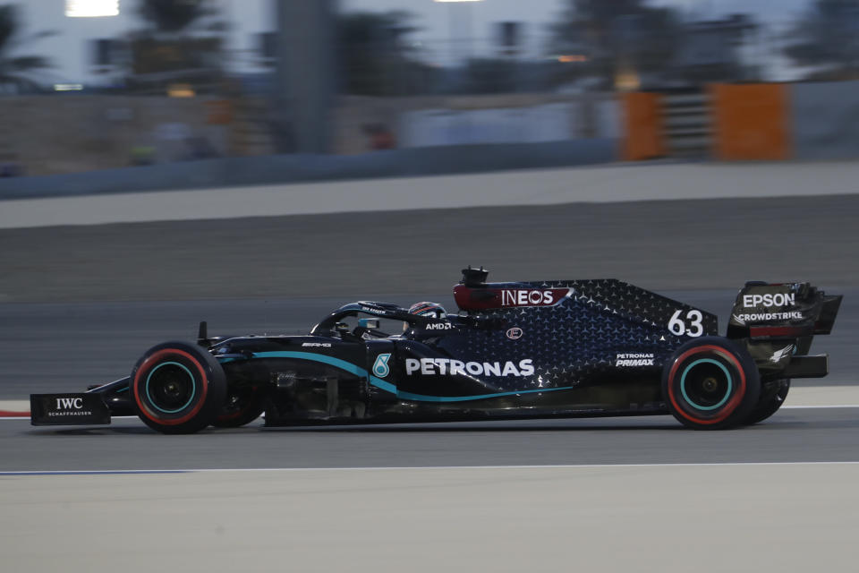 Mercedes driver George Russell of Britain steers his car during the first free practice at the Formula One Bahrain International Circuit in Sakhir, Bahrain, Friday, Dec. 4, 2020. The Bahrain Formula One Grand Prix will take place on Sunday. (Hamad Mohammed, Pool via AP)
