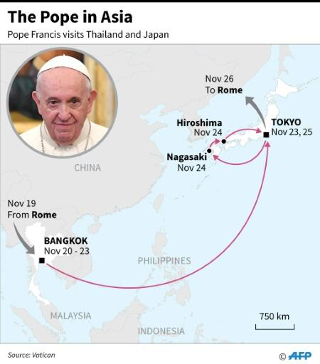 Map showing the route and dates of Pope Francis' Asia visit, Nov 19-26