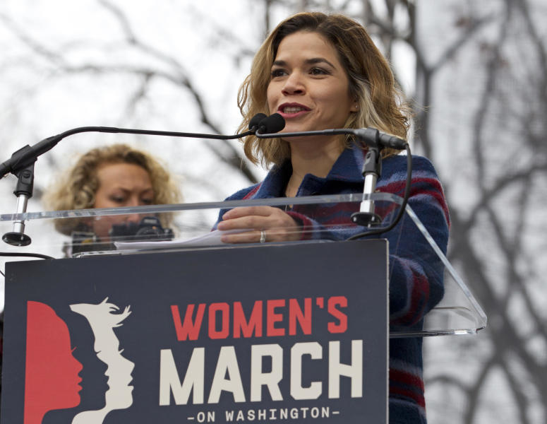 "FILE - In this Jan. 21, 2017, file photo, actress America Ferrera speaks to the crowd during the women's march rally, in Washington. Ferrera and fellow actress Eva Longoria are leading a coalition of actors, writers and leaders who penned a public ""letter of solidarity,"" Friday, Aug. 16, 2019, to U.S. Latinos in the wake of the El Paso, Texas, shooting and the immigration raid in Mississippi. (AP Photo/Jose Luis Magana, File)"