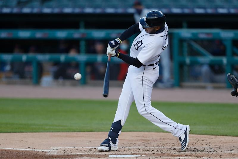Detroit Tigers third baseman Harold Castro hits an RBI single during the first inning against the Cleveland Indians at Comerica Park, Sept. 19, 2020.