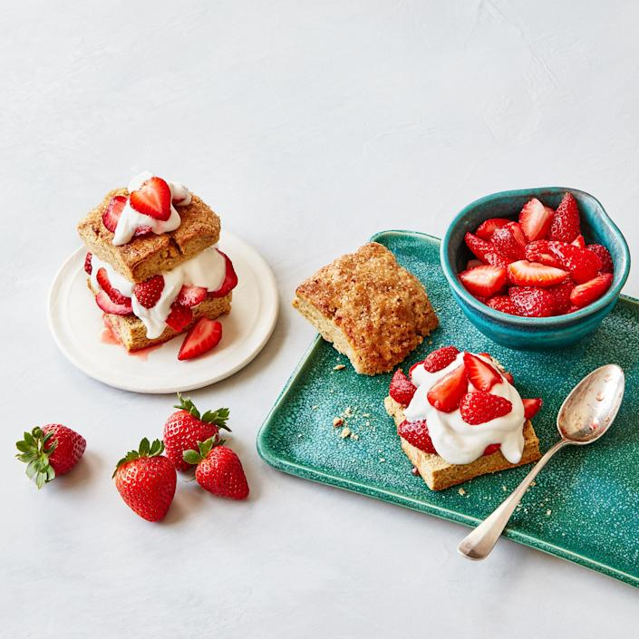 <p>These shortcakes' flaky layers are created by repeatedly rolling, cutting and stacking pieces of the dough. It takes a few extra minutes, but trust us—the results are worth it.</p>