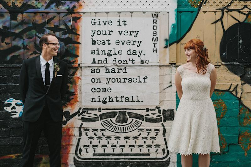 """From the moment I got engaged, I knew I wanted to make my own wedding dress. I'm obviously a big fan of all things DIY, and I've never been a woman who bought into the whole wedding-industrial complex,"" bride Laura Birek, who runs the blog <a href=""http://nocturnalknits.com"" target=""_blank"">Nocturnal Knits</a>, told HuffPost. ""The thought of buying an ill-fitting polyester dress for $1000+ didn't make me feel special. But just thinking about <a href=""https://nocturnalknits.com/2017/07/story-hand-knit-wedding-dress/"" target=""_blank"">designing my own dress</a> made me giddy with excitement, and I knew it would make me feel extra-special on my wedding day. And I was right! It took a ton of math (designing knitwear is a lot like writing code), a few false starts (I had to knit the bodice twice), and about 100 hours of knitting in front of the television!"""