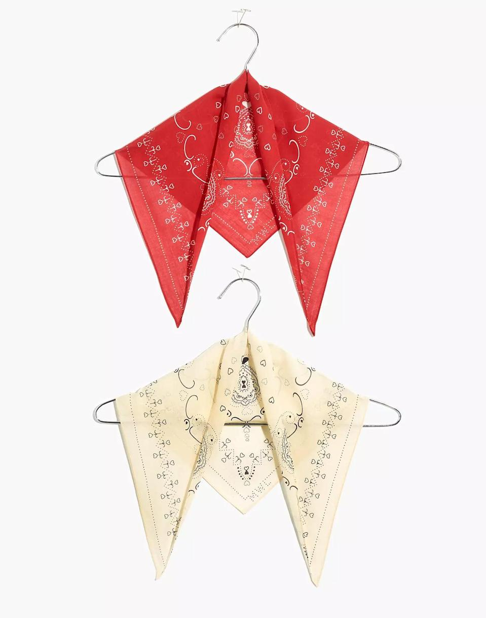 <p>These pretty <span>Madewell Two-Pack Triangle Bandanas</span> ($19) are also going to be super useful. She'll love them.</p>
