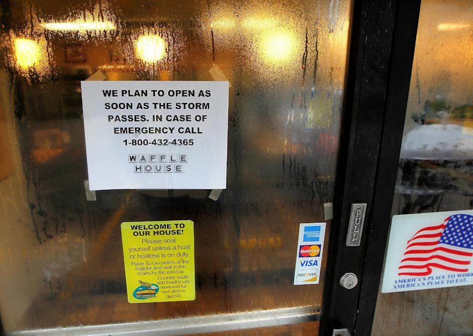 A door sign is seen at a closed Waffle House restaurant in Savannah, Georgia, U.S., October 7, 2016. (Reuters)