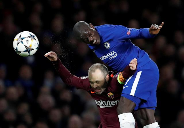 Soccer Football - Champions League Round of 16 First Leg - Chelsea vs FC Barcelona - Stamford Bridge, London, Britain - February 20, 2018 Barcelona's Andres Iniesta in action with Chelsea's N'Golo Kante Action Images via Reuters/Andrew Boyers TPX IMAGES OF THE DAY