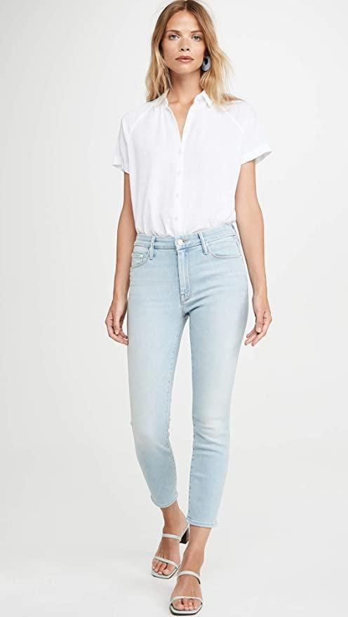 """<p>Welcome warm weather with these <a href=""""https://www.popsugar.com/buy/Mother-Looker-Crop-Jeans-583841?p_name=Mother%20Looker%20Crop%20Jeans&retailer=amazon.com&pid=583841&price=171&evar1=fab%3Aus&evar9=47565691&evar98=https%3A%2F%2Fwww.popsugar.com%2Fphoto-gallery%2F47565691%2Fimage%2F47565695%2FMother-Looker-Crop-Jeans&list1=shopping%2Camazon%2Cdenim%2Csale%2Cget%20the%20look%2Cmeghan%20markle%2Csale%20shopping%2Ccelebrity%20style&prop13=api&pdata=1"""" class=""""link rapid-noclick-resp"""" rel=""""nofollow noopener"""" target=""""_blank"""" data-ylk=""""slk:Mother Looker Crop Jeans"""">Mother Looker Crop Jeans</a> ($171, originally $228).</p>"""