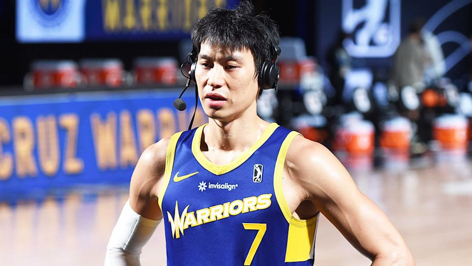 NBA veteran Jeremy Lin (pictured) during an interview on court.