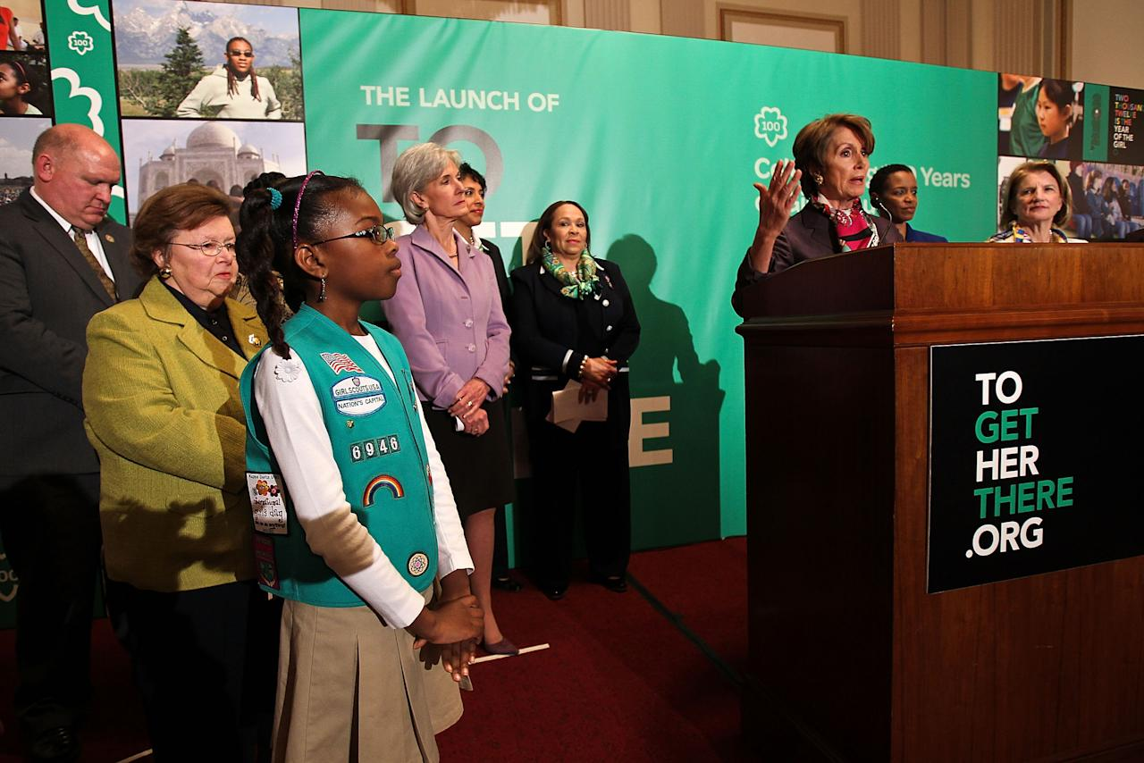 WASHINGTON, DC - FEBRUARY 01:  Democratic Leader Nancy Pelosi (D-CA) shares remarks at Girl Scouts At 100: The Launch of ToGetHerThere at Capitol Hill Cannon House Office Bldg, Caucus Room on February 1, 2012 in Washington, DC.  (Photo by Paul Morigi/Getty Images for Girl Scouts of America)