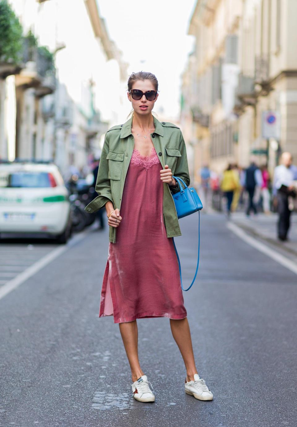 <p>We're all about this easy combo - just add a light layer and sneakers to your favorite slip dress. </p>