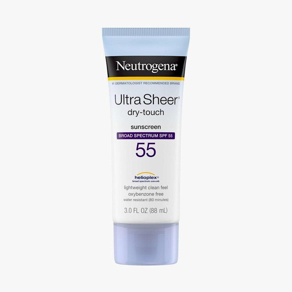 """This drugstore steal is a favorite across the board. It's non-comedogenic, oil-free, and water-resistant on top of yielding robust SPF 55 coverage and gliding on like a dream to undetectable effect. $8, NEUTROGENA. <a href=""""https://shop-links.co/1707067352978903603"""" rel=""""nofollow noopener"""" target=""""_blank"""" data-ylk=""""slk:Get it now!"""" class=""""link rapid-noclick-resp"""">Get it now!</a>"""
