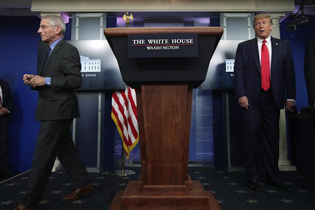 Dr. Anthony Fauci, the nation's leading infectious disease expert, said there are potential plans that could work to bring back sports shortly after President Donald Trump created a task force including league commissioners and team owners. (Photo by Alex Wong/Getty Images)