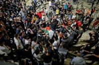 Israel allowed Palestinians to gather on the Damascus Gate steps following prayers