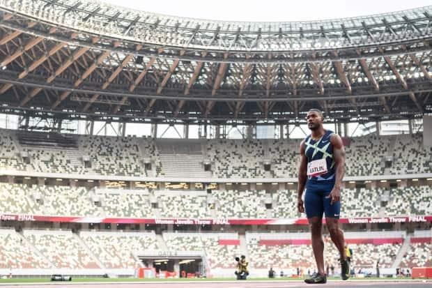 Justin Gatlin of the U.S. prepares to race the 100 metres in front of an empty stadium at a test event in Tokyo in May.