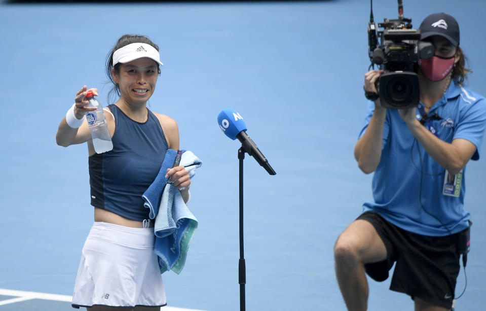 Taiwan's Hsieh Su-Weiis interviewed after her win over Marketa Vondrousova of the Czech Republic during their fourth round match at the Australian Open tennis championships in Melbourne, Australia, Sunday, Feb. 14, 2021. (AP Photo/Andy Brownbill)