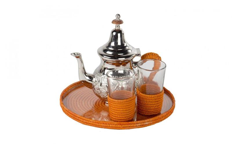 Morrocan raffia tea set, £95, Raj Tent Club