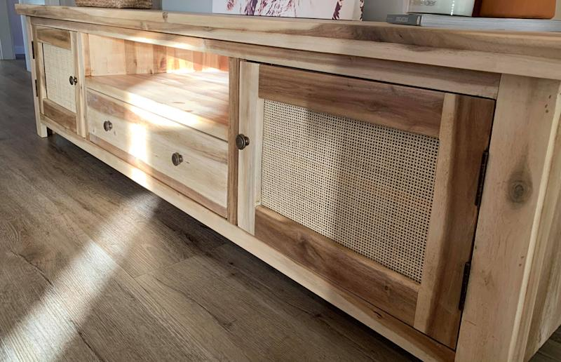 Wooden TV unit with Rattan