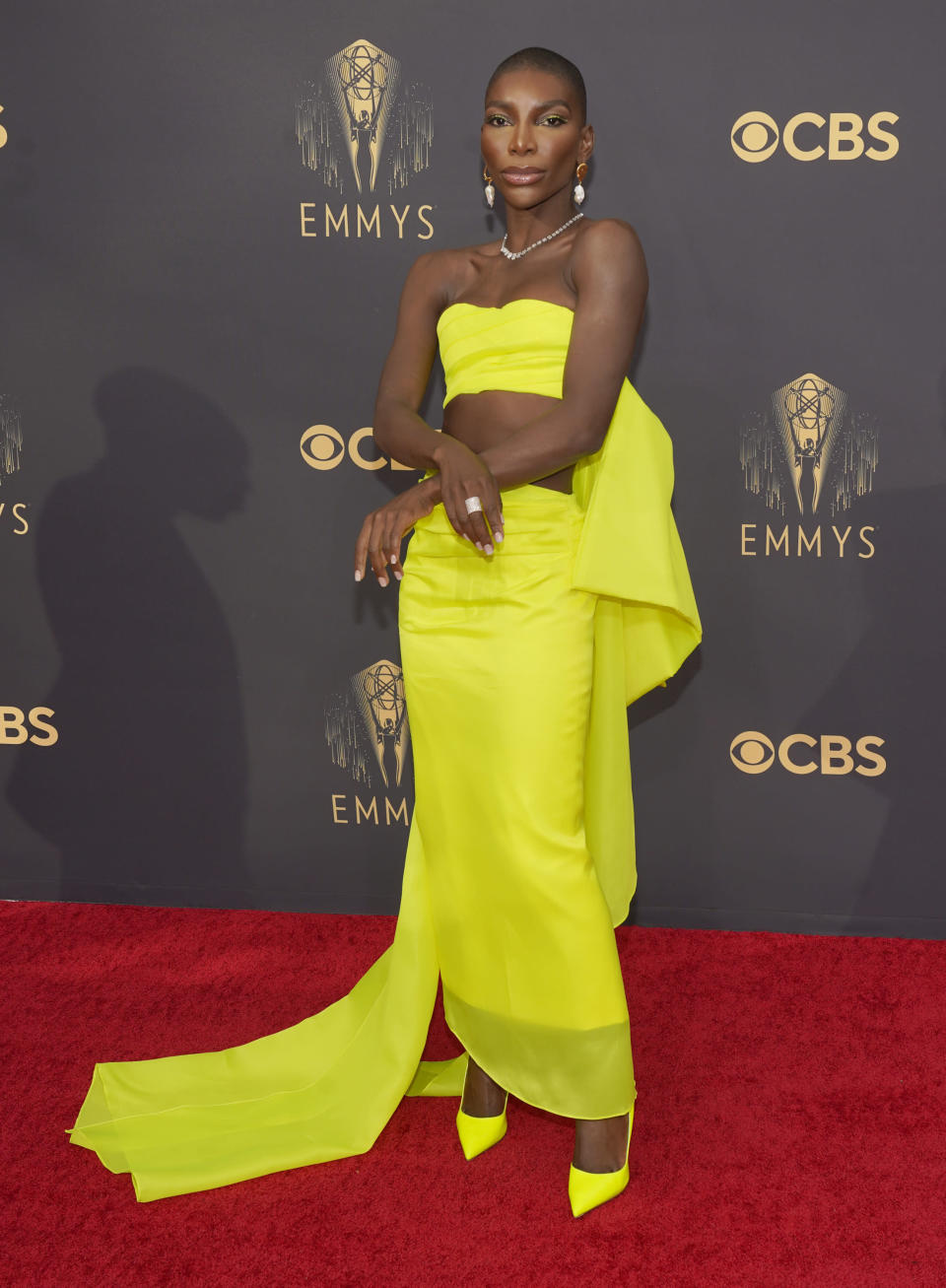 Michaela Coel arrives at the 73rd Primetime Emmy Awards on Sunday, Sept. 19, 2021, at L.A. Live in Los Angeles. (AP Photo/Chris Pizzello)