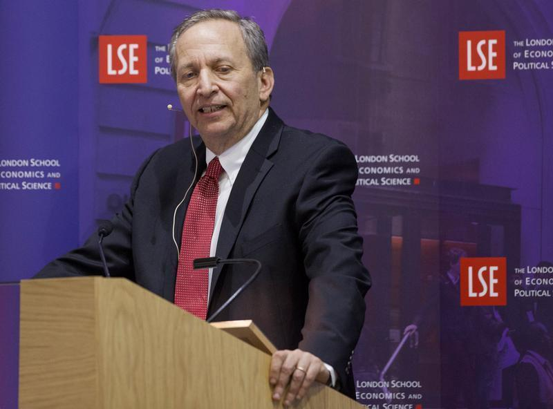 """Former U.S. Treasury Secretary Lawrence H. """"Larry"""" Summers speaks during a financial and economic event at the London School of Economics (LSE) in London"""