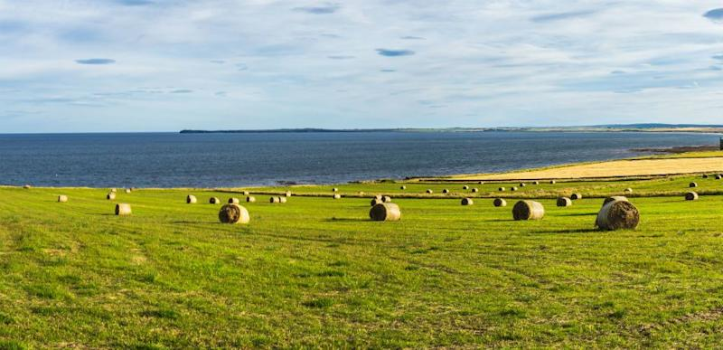 Amazing seascape with hay bales in the far north of Scotland near Wick, Caithness, Scotland.