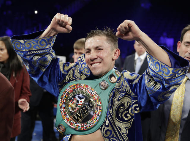Gennady Golovkin reacts following a fight against Canelo Alvarez during a middleweight title fight Sunday, Sept. 17, 2017, in Las Vegas. The fight was called a draw. (AP)
