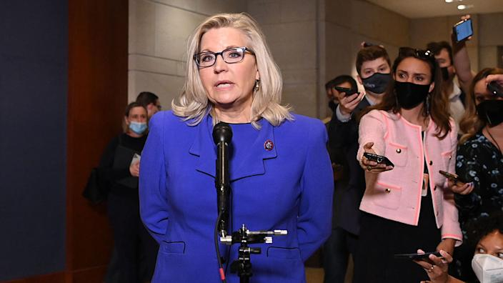 US Representative Liz Cheney, Republican of Wyoming, speaks to the media at the US Capitol in Washington, DC, on May 12, 2021. (Mandel Ngan/AFP via Getty Images)