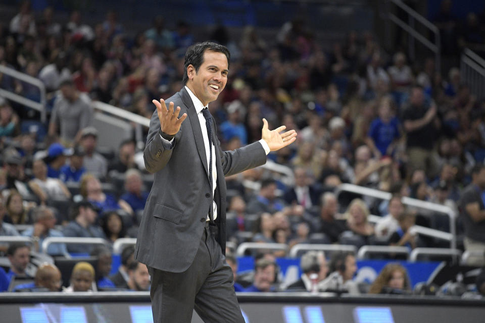 An exclusive image of Erik Spoelstra trying to figure out how to manage the Heat's interesting and weird frontcourt. (AP)