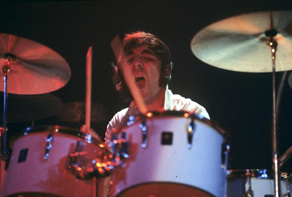 Keith Moon drumming during a concert