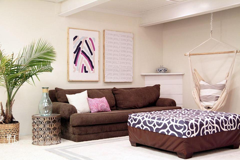 """<p>If you're looking to create a basement space where you can """"hang out,"""" consider installing a hammock swing chair. Relaxation station, here we come! </p><p><strong>See more at <a href=""""https://providenthomedesign.com/2015/11/12/basement-rec-room-makeover-reveal-orc-week-6/"""" rel=""""nofollow noopener"""" target=""""_blank"""" data-ylk=""""slk:Provident Home Design"""" class=""""link rapid-noclick-resp"""">Provident Home Design</a>.</strong></p><p> <a class=""""link rapid-noclick-resp"""" href=""""https://www.amazon.com/CCTRO-Hammock-Hanging-Bedroom-Capacity/dp/B07HMS2B27/ref=sr_1_7?tag=syn-yahoo-20&ascsubtag=%5Bartid%7C10063.g.36061437%5Bsrc%7Cyahoo-us"""" rel=""""nofollow noopener"""" target=""""_blank"""" data-ylk=""""slk:SHOP HAMMOCK SWING CHAIRS"""">SHOP HAMMOCK SWING CHAIRS</a></p>"""