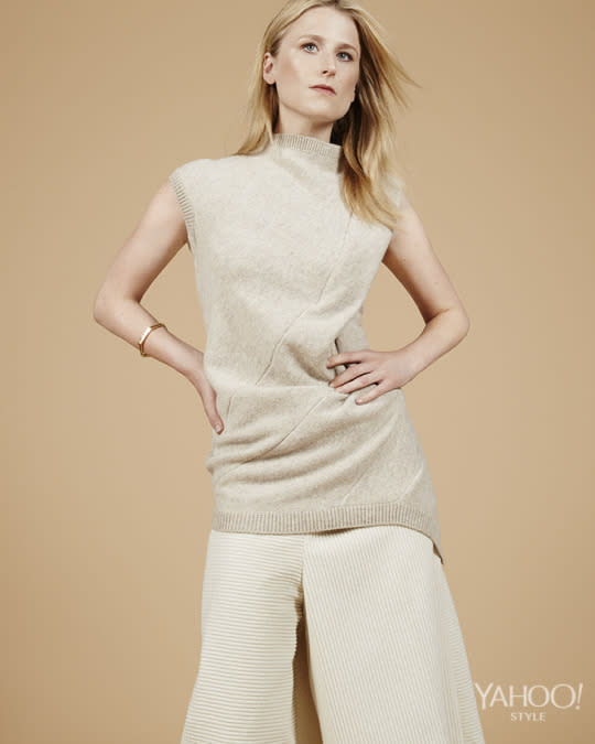 "<p>Victoria Beckham Drape Panel Top, $1,995, Available at NEAPOLITAN, <a href=""http://www.neapolitanonline.com/%20"">neapolitanonline.com</a> <br /><br /> Victoria Beckham Corduroy Culottes, $1,550, Available at NEAPOLITAN, <a href=""http://www.neapolitanonline.com/%20"">neapolitanonline.com</a> <br /><br /> Maiyet Geometric Open Bangle in 18k Yellow Gold with Rose Cut Diamonds, $9,200, Available at Maiyet, 4, 676 Broadway, New York, NY, 646.602.000</p>"