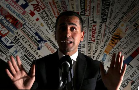 Anti-establishment 5-Star Movement Luigi Di Maio gestures during a news conference at the Foreign Press Club in Rome