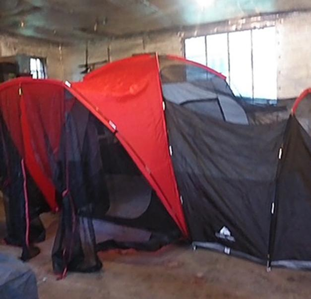 A tent Roxann Block pitched to stay in a friend's garage. (Courtesy Roxann Block)
