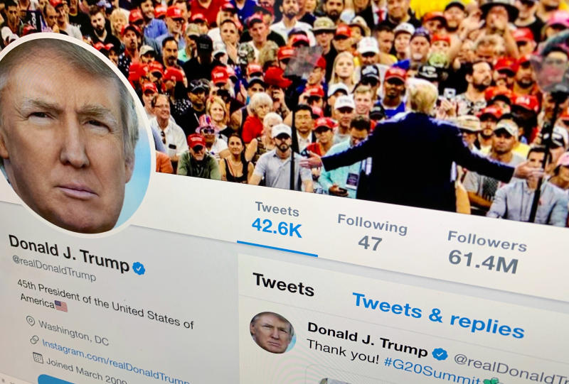 The U.S. President Donald Trump's Twitter feed is shown on a computer screen on Thursday, June 27, 2019, in New York. President Donald Trump's next tweet might come with a warning label. Starting Thursday tweets that Twitter deems in the public interest, but which violate the service's rules, will be obscured by a warning explaining the violation. Users will have to tap through the warning to see the underlying message. (AP Photo/Jenny Kane)