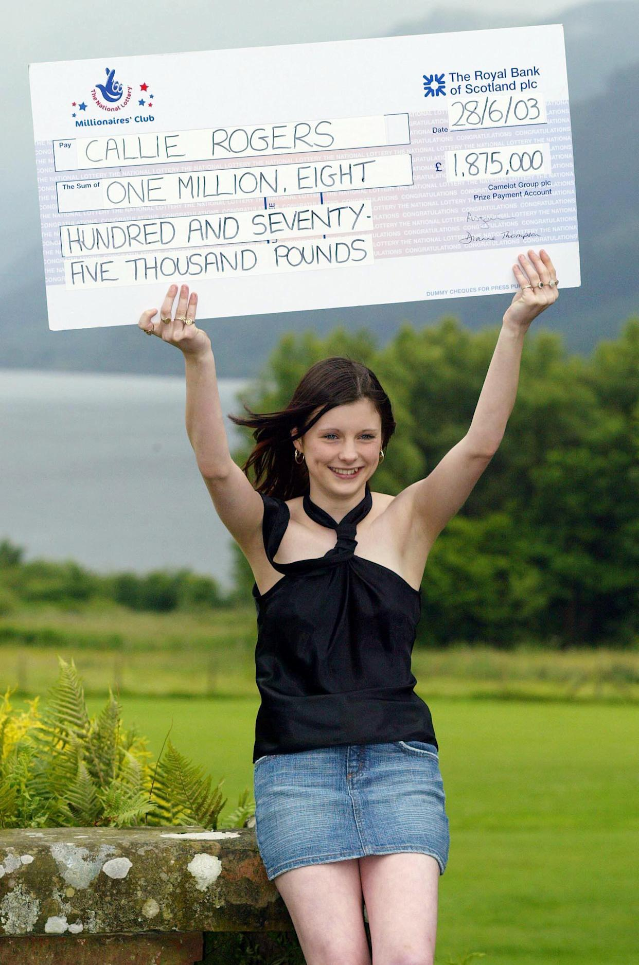Sixteen-year-old, Callie Rogers from Cockermouth in Cumbria celebrates after winning   1.8 million on the National Lottery, becoming the second youngest jackpot winner.