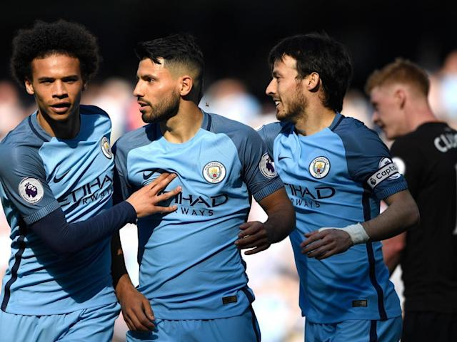 Aguero celebrates scoring Manchester City's second (Getty)