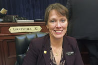 FILE - In this March 1, 2018, file photo, Idaho Republican state Rep. Priscilla Giddings sits at the Capitol in Boise. An Idaho lawmaker accused of violating ethics rules by publicizing the name of an alleged rape victim in disparaging social media posts and then allegedly misleading lawmakers about her actions, said in an ethics hearing Monday, Aug. 2, 2021, that she did nothing wrong and claimed the allegations against her were politically motivated. Rep. Giddings of Whitebird became the subject of two ethics complaints by about two dozen lawmakers after she publicized the rape accuser's name, photo and personal details by sharing links to an far-right news article on social media and in a newsletter to constituents. (AP Photo/Kimberlee Kruesi, File)