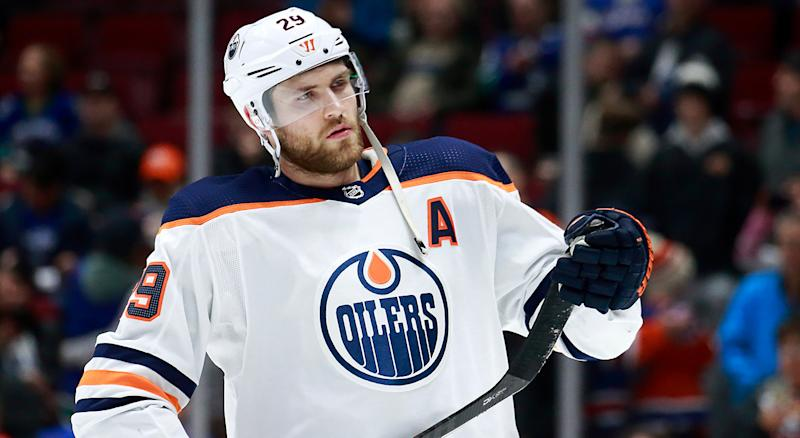 VANCOUVER, BC - DECEMBER 23: Leon Draisaitl #29 of the Edmonton Oilers skates up the ice during warmup before their NHL game against the Vancouver Canucks at Rogers Arena December 23, 2019 in Vancouver, British Columbia, Canada. (Photo by Jeff Vinnick/NHLI via Getty Images)