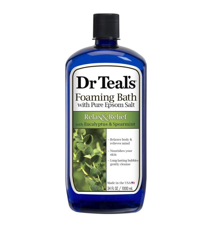 "Relax in this bath soak that contains soothing eucalyptus and spearmint oils. <br /><br /><strong>Promising review:</strong> ""I would say that this is my all-time favorite bubble bath, but the fact is, since I found it, I haven't tried any other. I am sure there are others just as good. The bubbles are plentiful and sumptuous and cleansing. They don't dry out my skin like others have (though I cannot go so far as to say they moisturize). <strong>The scent is pleasant and soothing.</strong> This potion assures me a luxurious, relaxing bath time that will aid my transition into a good night's sleep."" — <a href=""https://www.amazon.com/dp/B007THNPBS?tag=huffpost-bfsyndication-20&ascsubtag=5906615%2C24%2C35%2Cd%2C0%2C0%2C0%2C962%3A1%3B901%3A2%3B900%3A2%3B974%3A3%3B975%3A2%3B982%3A2%2C16596489%2C0"" target=""_blank"" rel=""nofollow noopener noreferrer"" data-skimlinks-tracking=""5906615"" data-vars-affiliate=""Amazon"" data-vars-href=""https://www.amazon.com/gp/customer-reviews/R2QABX3RUKEK3T?tag=bfkayla-20&ascsubtag=5906615%2C24%2C35%2Cmobile_web%2C0%2C0%2C16595485"" data-vars-keywords=""cleaning"" data-vars-link-id=""16595485"" data-vars-price="""" data-vars-product-id=""21066387"" data-vars-product-img="""" data-vars-product-title="""" data-vars-retailers=""Amazon"">Oakley<br /><br /></a><strong>Get it from Amazon for <a href=""https://www.amazon.com/dp/B007THNPBS?tag=huffpost-bfsyndication-20&ascsubtag=5906615%2C24%2C35%2Cd%2C0%2C0%2C0%2C962%3A1%3B901%3A2%3B900%3A2%3B974%3A3%3B975%3A2%3B982%3A2%2C16596489%2C0"" target=""_blank"" rel=""nofollow noopener noreferrer"" data-skimlinks-tracking=""5906615"" data-vars-affiliate=""Amazon"" data-vars-asin=""B007THNPBS"" data-vars-href=""https://www.amazon.com/dp/B007THNPBS?tag=bfkayla-20&ascsubtag=5906615%2C24%2C35%2Cmobile_web%2C0%2C0%2C16596489"" data-vars-keywords=""cleaning"" data-vars-link-id=""16596489"" data-vars-price="""" data-vars-product-id=""18108079"" data-vars-product-img=""https://m.media-amazon.com/images/I/41Gfhm+jaWL.jpg"" data-vars-product-title=""Dr Teal's Foaming Bath (Epsom Salt), Eucalyptus Spearmint, 34 Fluid Ounce"" data-vars-retailers=""Amazon"">$4.878</a>.</strong>"