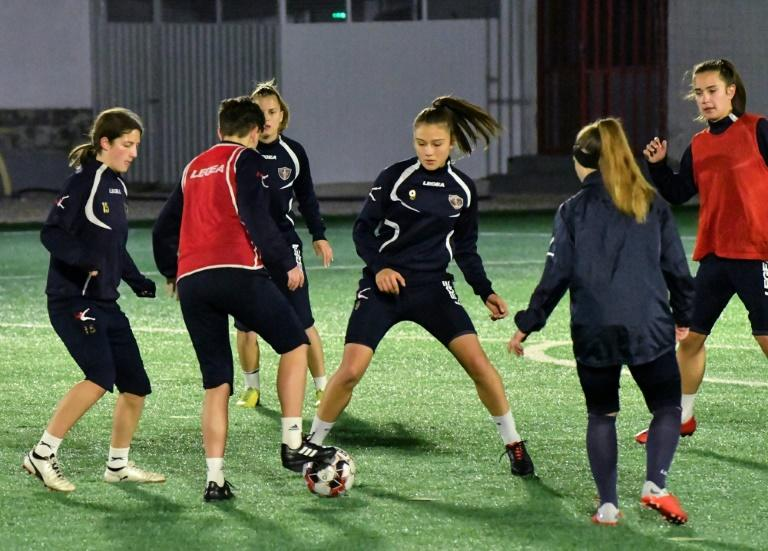 Emina players train in Mostar - in conservative Bosnia, football is still very much seen as a men's game