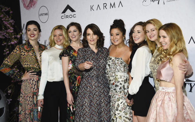 Tina Fey with the cast of Broadway's Mean Girls, Barrett Wilbert Weed, Kate Rockwell, Taylor Louderman, Ashley Park, Erika Henningsen, screenwriter Nell Benjamin and actress Kerry Butler (Credit: Evan Agostini/Invision/AP)