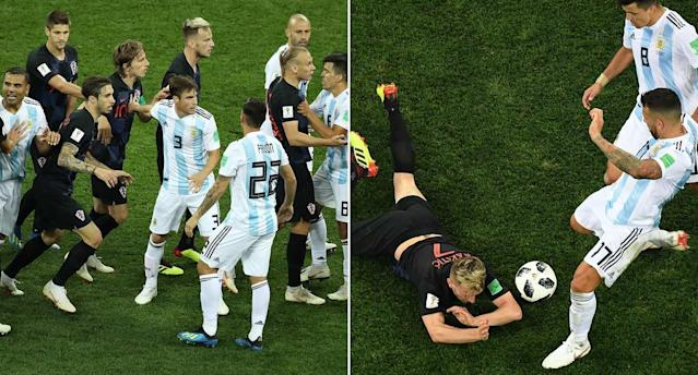 Argentina v Croatia featured 38 fouls and seven yellow cards. (Getty)